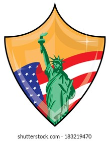 Shiny Gold Patriotic Shield with American Flag and Statue of Liberty