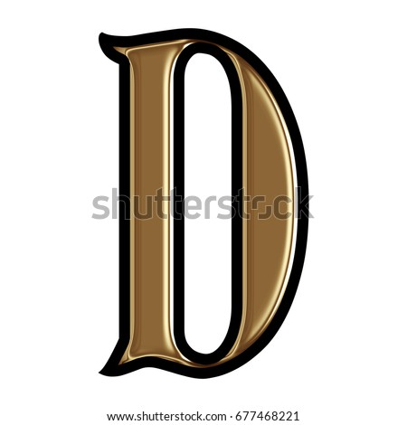 7871b1f6f99a Shiny gold uppercase or capital letter D in a 3D illustration with a dark  metal golden