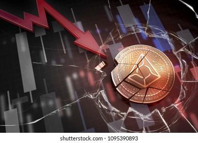shiny golden AUGUR cryptocurrency coin broken on negative chart crash baisse falling lost deficit 3d rendering