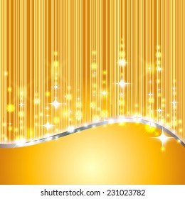 shiny golden background with glitter and stars