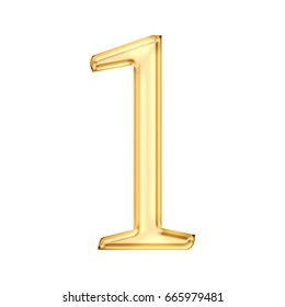 Shiny golden glass number one 1 in a 3D illustration with a glossy gold metallic or plastic style and classic font isolated on a white background with clipping path.