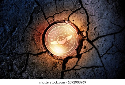 shiny golden GNOSIS cryptocurrency coin on dry earth dessert background mining 3d rendering illustration
