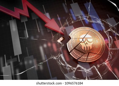 shiny golden SCAM cryptocurrency coin broken on negative chart crash baisse falling lost deficit 3d rendering