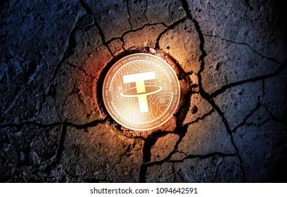 shiny golden TETHER cryptocurrency coin on dry earth dessert background mining 3d rendering illustration