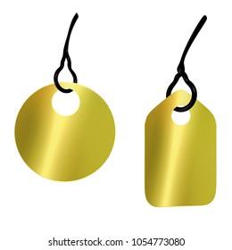 Shiny Golden Tickets discount labels 3d illustration