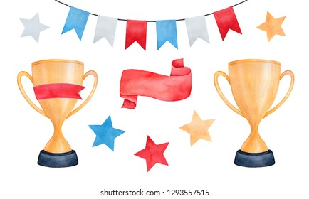 Shiny golden trophy cups, celebration bunting string, bright red victory ribbon and various colorful champion star shapes. Handdrawn watercolour drawing, cutout clipart elements for creative design.