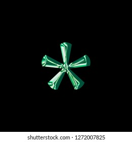 Shiny green glass asterisk or star shape symbol in a 3D illustration with a smooth reflective shiny surface finish in a classic font style on a black background with clipping path