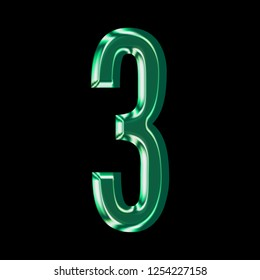 Shiny green glass number three 3 in a 3D illustration with a smooth reflective shiny surface finish in a gothic font style on a black background with clipping path