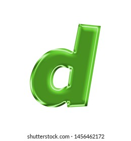 Shiny green metallic letter D (lowercase) in a 3D illustration with a shining green metal surface finish and basic bold font on white with clipping path