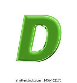 Shiny green metallic letter D in a 3D illustration with a shining green metal surface finish and basic bold font on white with clipping path
