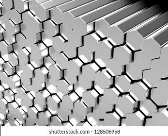 Shiny hexagon metal bars abstract background