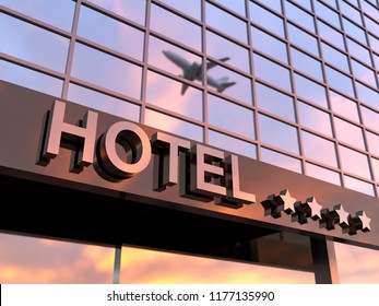shiny hotel sign with stars, 3d illustration