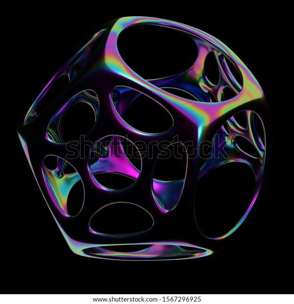 Shiny iridescent dodecahedron with holes on a black background, 3d render / rendering.