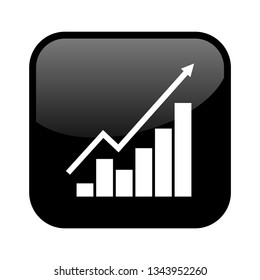 Shiny isolated black Button: Business Chart - Success