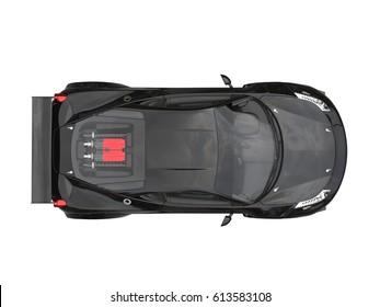 Shiny jet black sports car - top view - 3D Illustration