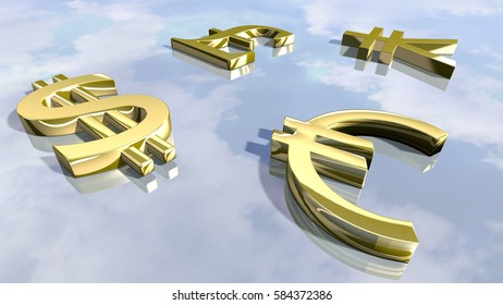 Shiny leading money signs. 3D rendering