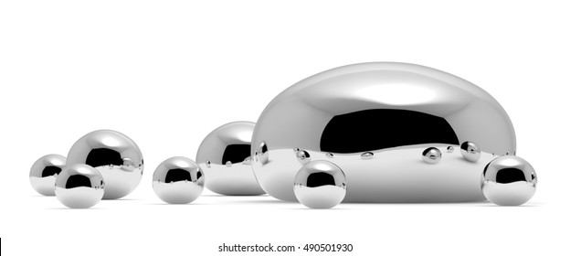 Shiny mercury (Hg) metal drops and droplets of toxic mercury chemical element metal liquid isolated on white background closeup view