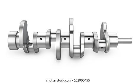 Shiny meta crankshaft, isolated on white background