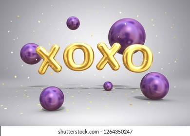 Shiny metal gold letters XOXO and bright flying purple violet balloons spheres on festive background with confetti for Valentines Day, 3d rendering