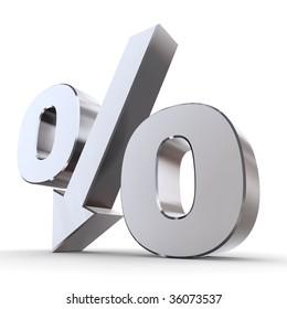 shiny metal percentage symbol with an arrow down