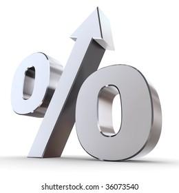 shiny metal percentage symbol with an arrow up