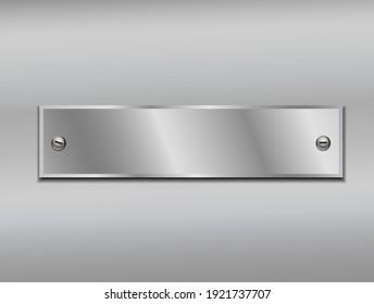 Shiny metal plate isolated on metallic background