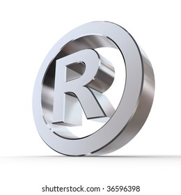 shiny metal registered trademark sign - silver/chrome style - low camera angle