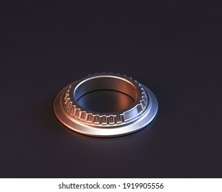 Shiny metal spare mechanical part of machine in machinery and automotive industry, 3d rendering, stainless steel isolated machine piece, isometric