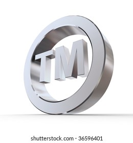 shiny metal trademark sign - silver/chrome style - low camera angle