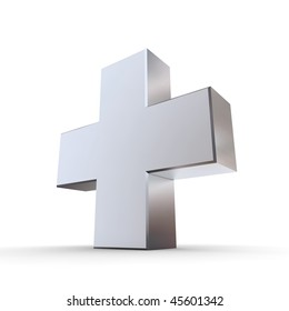 shiny metallic 3d symbol of a cross made of silver/chrome