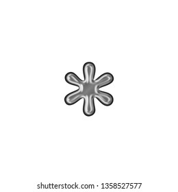 Shiny metallic asterisk or star shape symbol in a 3D illustration with a smooth metal surface finish in a silver gray color with an antique bookletter font isolated on a white background