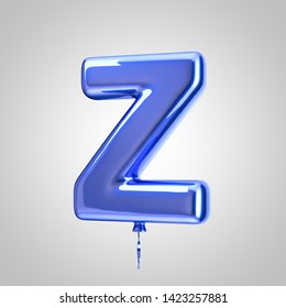 Shiny metallic blue balloon letter Z uppercase isolated on white background. 3D rendered alphabet type balloons for holiday, birthday, celebration, new year. Glossy font for banner, poster decoration.
