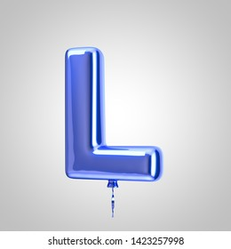 Shiny metallic blue balloon letter L uppercase isolated on white background. 3D rendered alphabet type balloons for holiday, birthday, celebration, new year. Glossy font for banner, poster decoration.