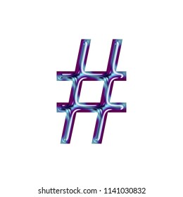 Shiny metallic blue & purple color hashtag social media icon or pound sign symbol in a 3D illustration with a smooth beveled metal finish and jagged edge font isolated on white with clipping path