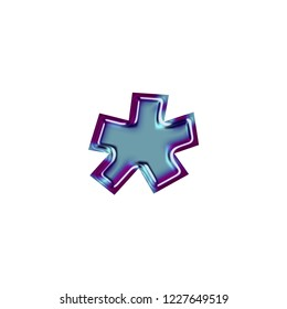 Shiny metallic blue & purple color asterisk or star shape symbol in a 3D illustration with a smooth beveled metal finish and basic bold font style isolated on white with clipping path