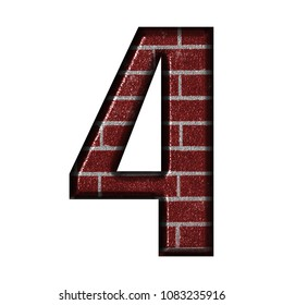Shiny metallic brick number four 4 in a 3D illustration with a red brick wall style and rustic texture in a bold font type isolated on a white background with clipping path