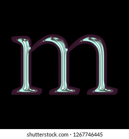 Shiny metallic cool blue purple tint letter M (lowercase) in a 3D illustration with a glossy metal surface and colorful cool tone in a classic font on black with clipping path