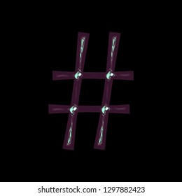Shiny metallic cool blue purple tint hashtag social media icon or pound sign symbol 3D illustration with a glossy metal surface and colorful cool tone in a fun curly font on black with clipping path