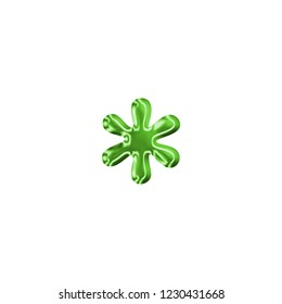 Shiny metallic green asterisk or star shape symbol in a 3D illustration with a shiny plastic or metal effect in a glowing green antique bookletter font isolated on white with clipping path