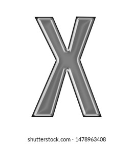 Shiny metallic letter X in a 3D illustration with a smooth metal surface finish in a silver gray color with a handdrawn font style isolated on a white background
