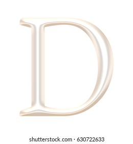 Shiny metallic light rose gold or pearl color uppercase or capital letter D in a 3D illustration with a chrome metal surface in a classic font style isolated on a white background