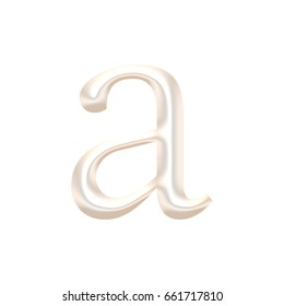 Shiny metallic light rose gold or pearl color lowercase or small letter A in a 3D illustration with a chrome metal surface in a classic font style isolated on a white background with clipping path.