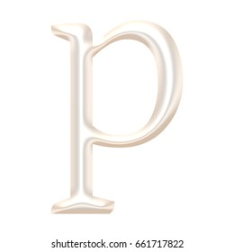 Shiny metallic light rose gold or pearl color lowercase or small letter P in a 3D illustration with a chrome metal surface in a classic font style isolated on a white background with clipping path.