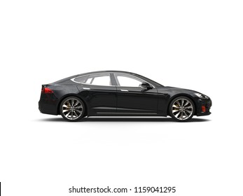 Shiny midnight black electric sports car - side view - 3D Illustration