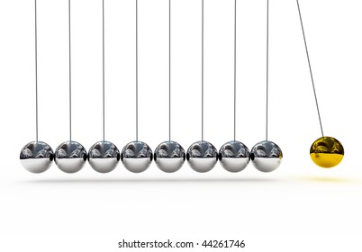Shiny pendulums over white background . 3d render