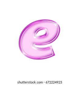 Shiny pink and purple bold style lowercase or small letter E in a 3D illustration with a glossy beveled thick text effect isolated on a white background with clipping path.