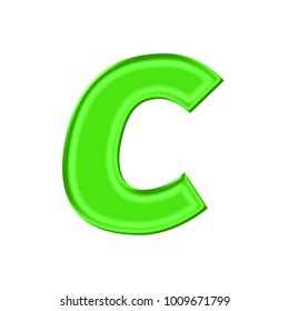 shiny plastic green uppercase or capital letter c in a 3d illustration with a silky shine