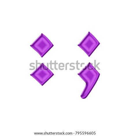 shiny plastic purple semicolon punctuation mark in a 3d illustration with a silky shine and purple