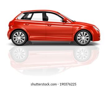 Shiny red sedan studio shot.