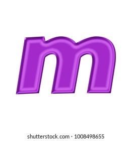 Pink Metallic Style Lowercase Or Small Letter M In A 3d Illustration